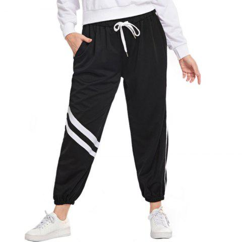 Loose White Stripe Drawing String Causual Pants - BLACK L