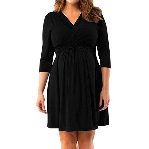 Maternity V Neck Solid Color Loose Plus Size Mid-sleeve Swing Dress - BLACK M