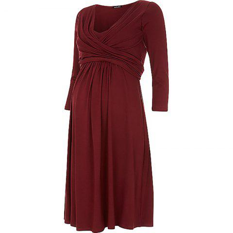 Maternity V Neck Solid Color Loose Plus Size Mid-sleeve Swing Dress - RED WINE L