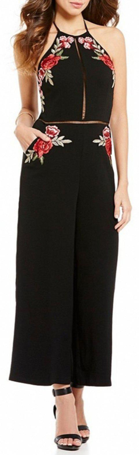 Women's Sexy Backless Halter Cut Out Embroidery Floral Wide Leg Jumpsuit - BLACK M