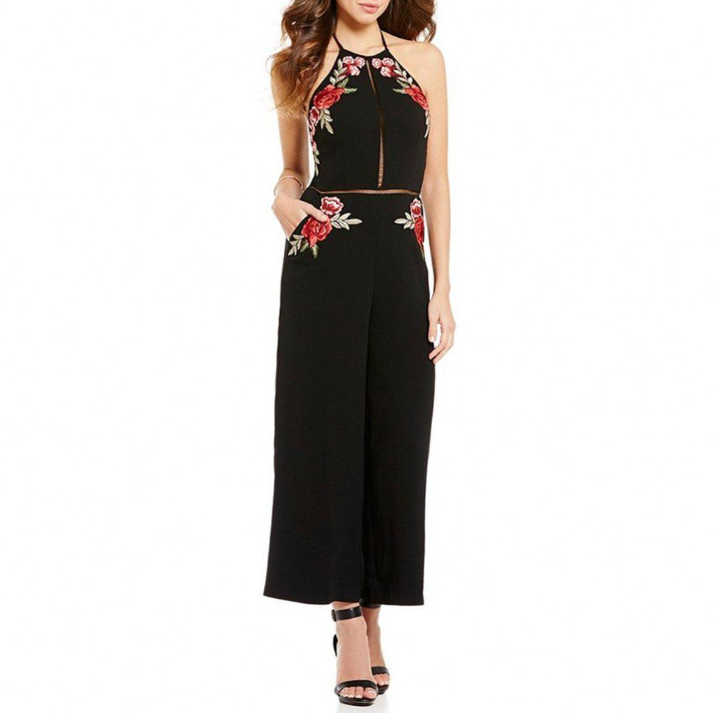 Women's Sexy Backless Halter Cut Out Embroidery Floral Wide Leg Jumpsuit - BLACK S