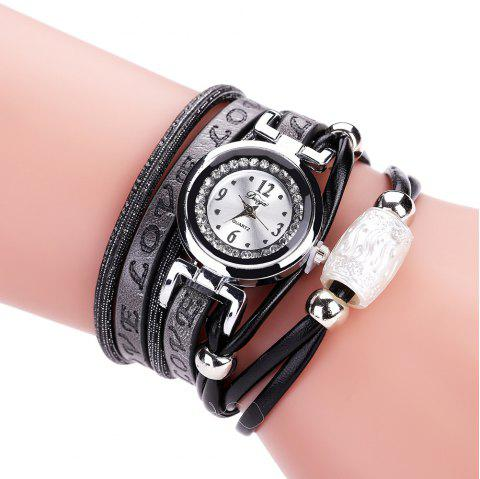 Women'S Word LOVE PU Watch Bracelet Watch with Diamonds - BLACK