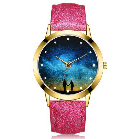 Lovers Star Quartz Watch Romantic in Hand Wrist Watch - ROSE RED