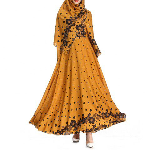 2018 Autumn Printed Gorgeous Dress - GOLDENROD L