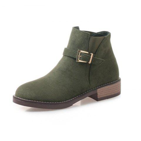 Round Head Rough and Low Heeled Minimalist Boots - ARMY GREEN EU 34