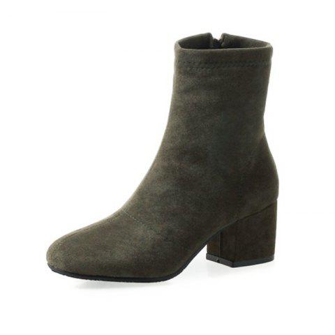 Round Head with Medium and Women'S Boots - ARMY GREEN EU 34