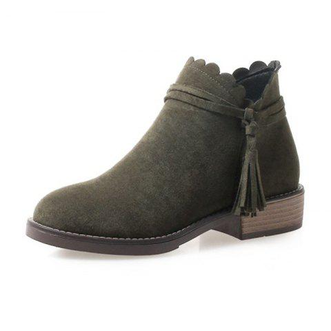 Round Head Waterproof Platform Low Heel Thick with Wild Student Boots - ARMY GREEN EU 37