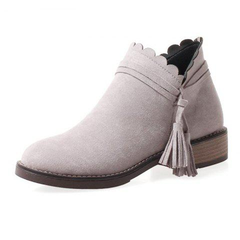 Round Head Waterproof Platform Low Heel Thick with Wild Student Boots - LIGHT GRAY EU 37