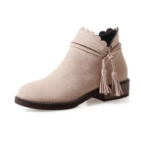 Round Head Waterproof Platform Low Heel Thick with Wild Student Boots - BLANCHED ALMOND EU 34