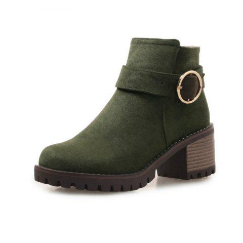Round Head Waterproof Platform with Heel Women'S Boots - ARMY GREEN EU 38
