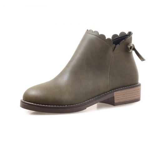 Fashion Round Head with Low Heel Sweet Student Women'S Boots - ARMY GREEN EU 34