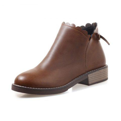 Fashion Round Head with Low Heel Sweet Student Women'S Boots - BROWN EU 38