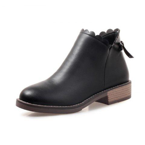 Fashion Round Head with Low Heel Sweet Student Women'S Boots - BLACK EU 39