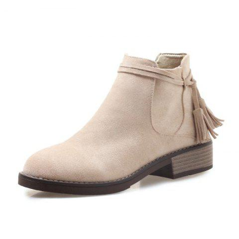 Round Head Waterproof Table Rough and Low Heeled Fringed Short Boots - BLANCHED ALMOND EU 39
