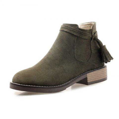 Round Head Waterproof Table Rough and Low Heeled Fringed Short Boots - ARMY GREEN EU 38