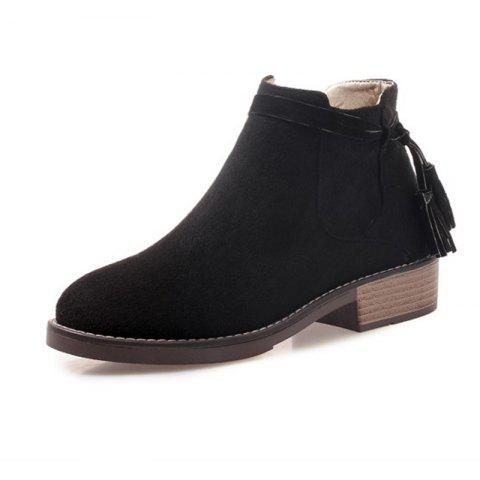 Round Head Waterproof Table Rough and Low Heeled Fringed Short Boots - BLACK EU 35