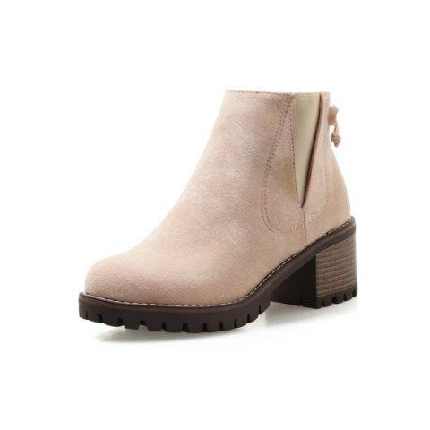 Round Waterproof with Rough with The Fashionable Ladies Boots - BLANCHED ALMOND EU 39