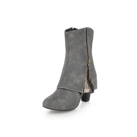 European and American Rough and High Heeled Women'S Boots - GRAY EU 35