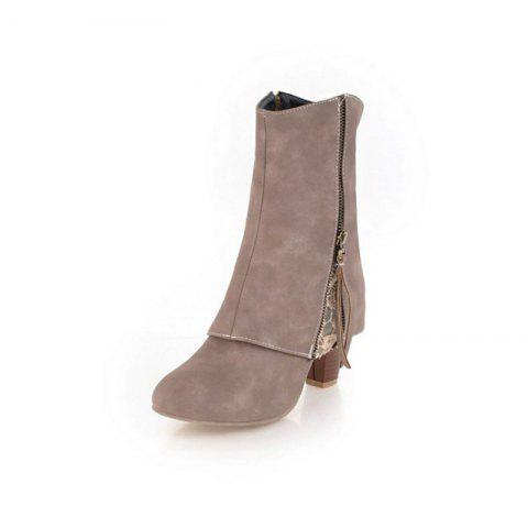 European and American Rough and High Heeled Women'S Boots - APRICOT EU 39