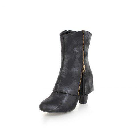 European and American Rough and High Heeled Women'S Boots - BLACK EU 34