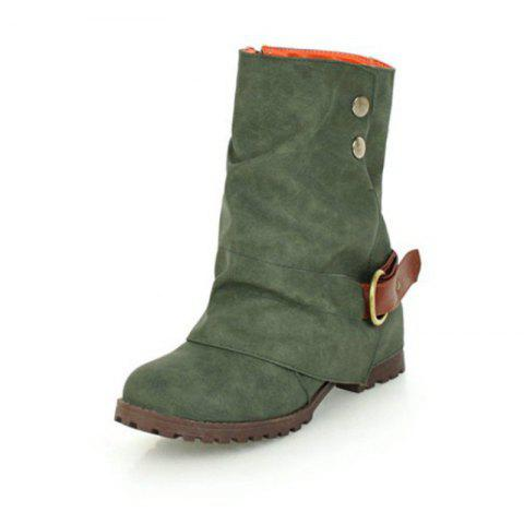 Round Head with Coarse and Medium Boots - ARMY GREEN EU 34