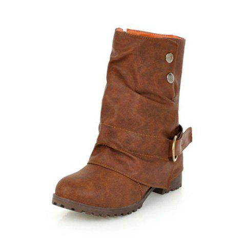 Round Head with Coarse and Medium Boots - BROWN EU 39