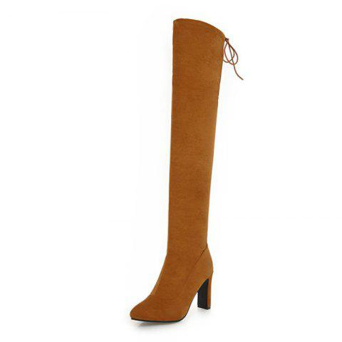 Sexy Sharp Pointed and High Heeled Fashion Knee Boots - YELLOW EU 38