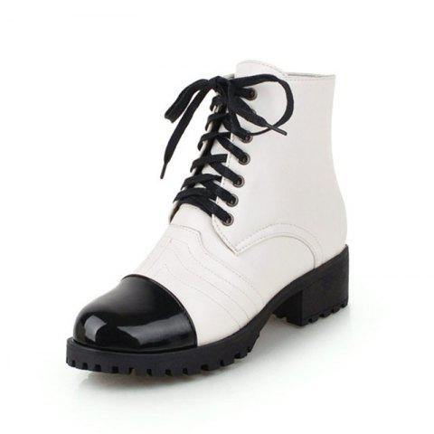 European and American Round Heads with Low Heeled Laces and Short Boots - WHITE EU 37