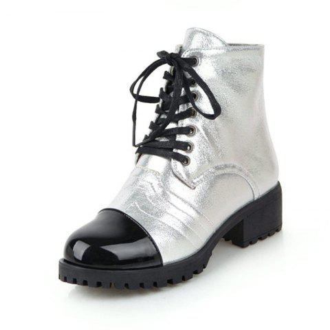 European and American Round Heads with Low Heeled Laces and Short Boots - SILVER EU 37