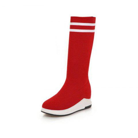 Round Head Thick Bottom Wedge with Versatile Stretch Short Boots - RED EU 36