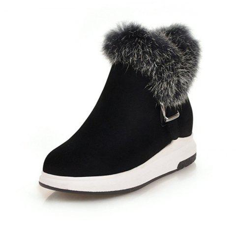 Fashion Round Head Thick Bottom Wedge with Versatile Warm Boots - BLACK EU 37