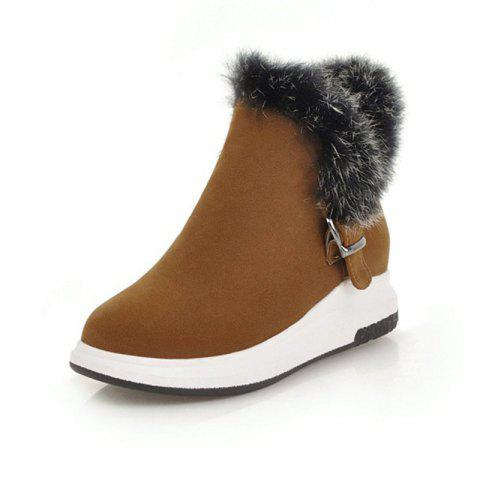 Fashion Round Head Thick Bottom Wedge with Versatile Warm Boots - BROWN EU 37