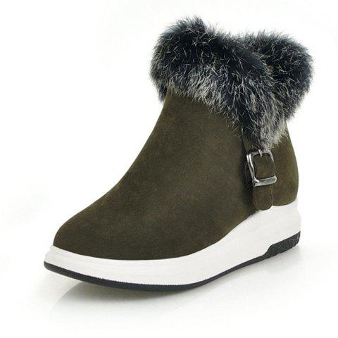Fashion Round Head Thick Bottom Wedge with Versatile Warm Boots - ARMY GREEN EU 35