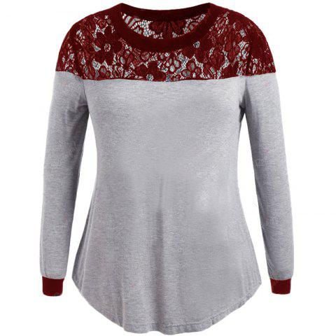 Lace Splicing Long Sleeve T Shirt - RED WINE 3XL