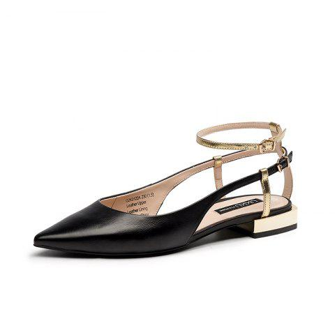 Summer Women'S Shoes Patent Leather Leather Pointed Flat Heel Women'S Sandals - BLACK EU 35