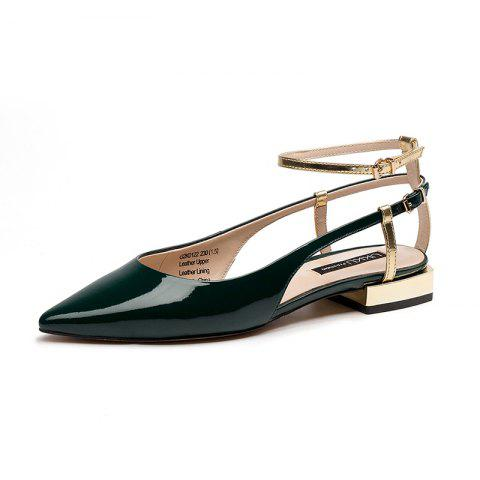 Summer Women'S Shoes Patent Leather Leather Pointed Flat Heel Women'S Sandals - PINE GREEN EU 35