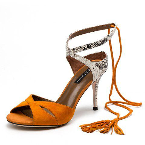 Slapstick Snakeskin Bag and Stiletto Sandals Are 8CM High - CHOCOLATE EU 39