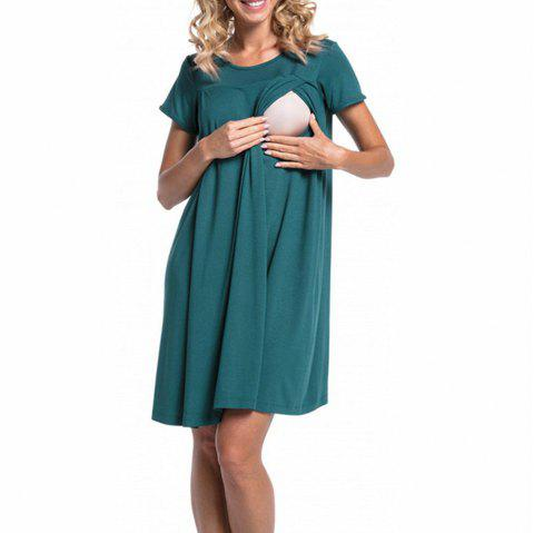 Maternity Round Neck Solid Color Button Suckle Birthing Short Sleeve Loose Dress - GREENISH BLUE S