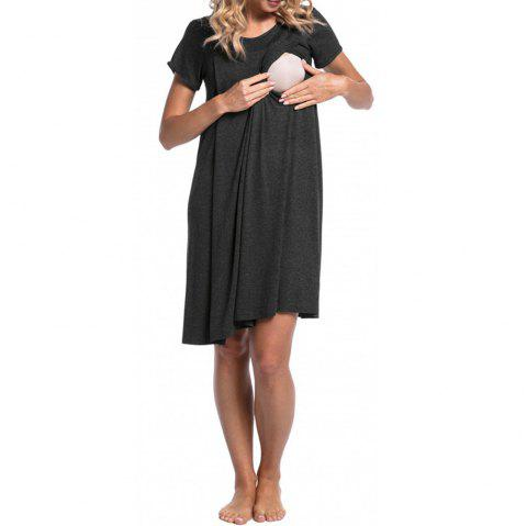 Maternity Round Neck Solid Color Button Suckle Birthing Short Sleeve Loose Dress - CARBON GRAY M