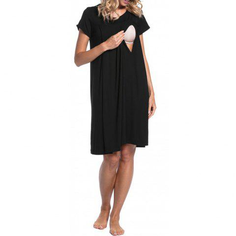 Maternity Round Neck Solid Color Button Suckle Birthing Short Sleeve Loose Dress - BLACK S