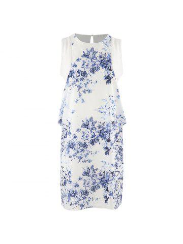 7157d449c70 HAODUOYI Women s Blue and White Porcelain Printed Chiffon Dress Multicolor