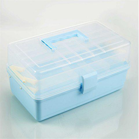 Portable Three-Layer Multi-Function Storage Box Medicine Box - CORAL BLUE REGULAR