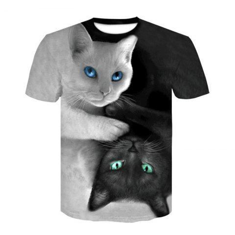 3D Cat Lovers Print Men's Casual Short Sleeve Graphic T-shirt - GRAY CLOUD L
