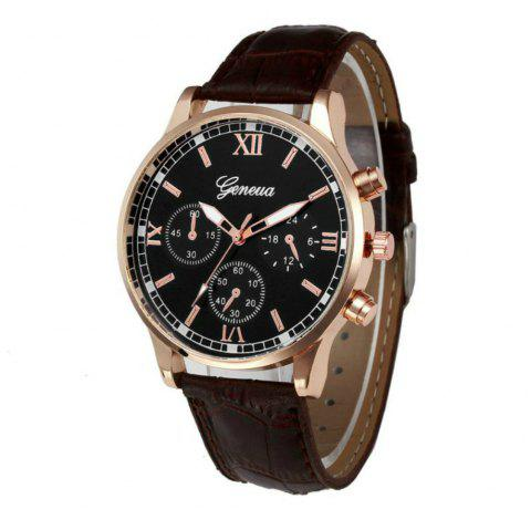 New Geneva Men Leisure Belt Creative Watch Dial Quartz Watch - BROWN