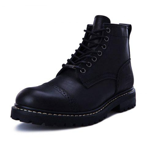 Pathfinder British Men'S High-Top Boots Outdoor Overalls Leather Boots - JET BLACK EU 43