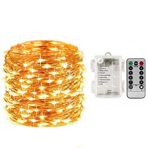 Fairy Lights String Battery Waterproof 8 Modes Remote Control 50 LED 16.4 Ft - GOLD