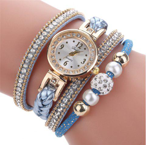 Women Fashion Knitting Twist Quartz Watch Bracelet Watch Diamonds - CRYSTAL BLUE