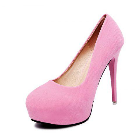 Women's Round Toe Platform High Heels Concise Party High Heels - HOT PINK EU 35