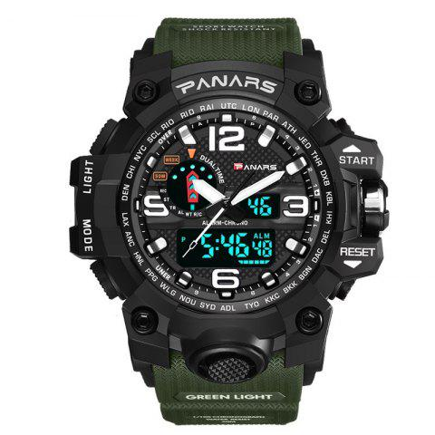 PANARS Men Sport Utility Waterproof LED Double Display Electronic Watch - ARMY GREEN