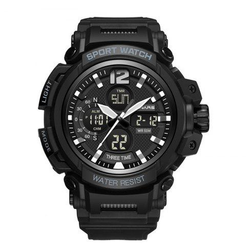 PANARS Men Sports Multi-Function Dual Display Analog Waterproof Digital Watches - BLACK